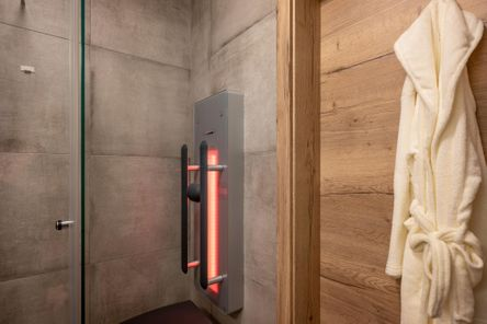 bathroom with shower with infrared cabin